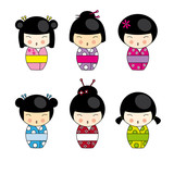 Set  Kokeshi Japanese dolls, vector