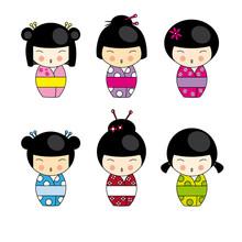 Japońskie lalki kokeshi ustawić wektor