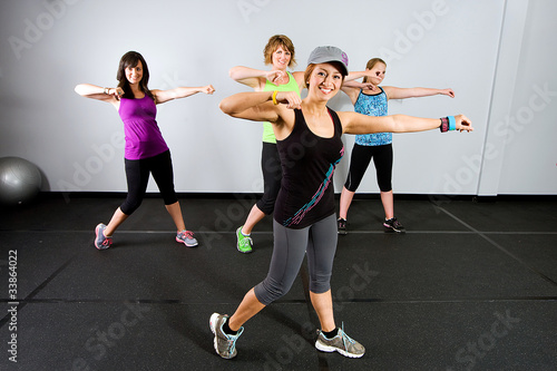 Zumba class for women at a gym