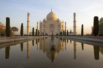 Sunrise at the Taj Mahal.