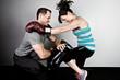Woman training for kickboxing.