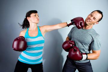 Boxing Match Woman Punching Man