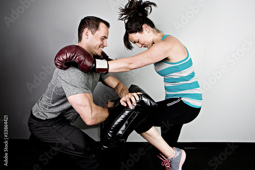 Woman training for kickboxing.