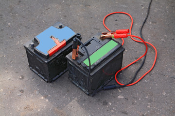 old electric batteries on road