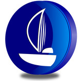 Sailboat glossy icon