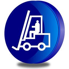 BiancoForklift truck glossy icon