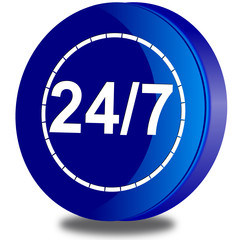 24/7 customer service glossy icon