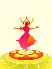 Dancing women greeting card for Onam holiday