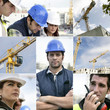 Photo-montage of building workers on a site