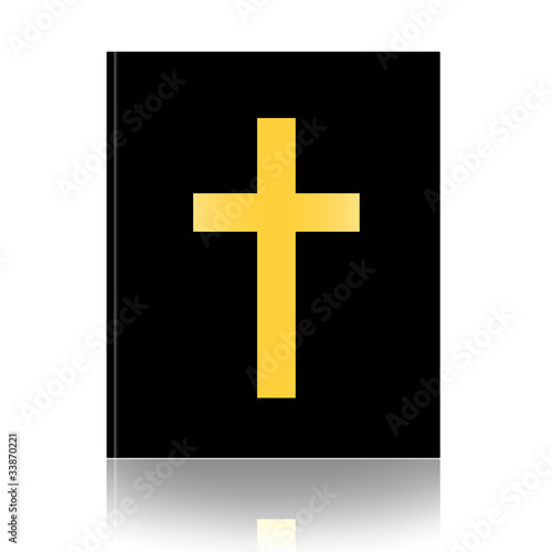 Holy Bible with cross isolated over white background