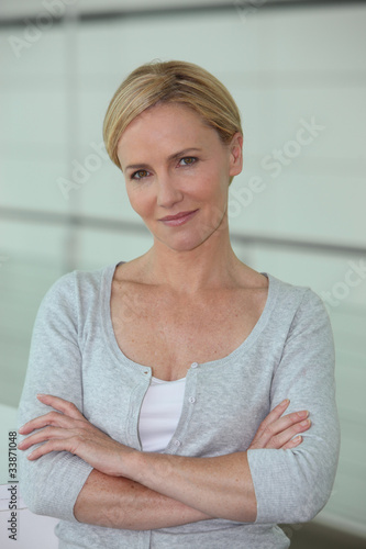Portrait of confident blond woman