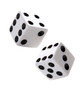 A pair of gambling dices falling down on white background