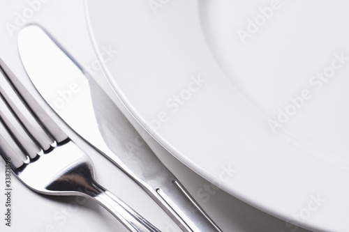Dinner plate, fork and knife