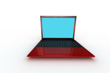 red notebook pc on white background