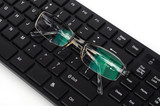 Computer keyboard and glasses