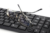 Computer keyboard and eye glasses