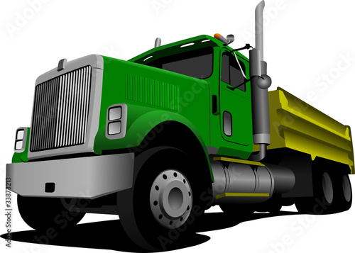 Green Tipper isolated on white background vector illustration