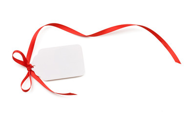 Blank gift tag or price tage isolated on white.