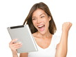 Tablet woman excited