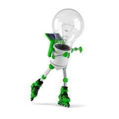 solar powered light bulb robot - roller skating