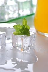 cubetti ghiaccio, menta, drink - due