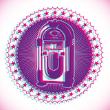 Artistic retro emblem with jukebox. - 33879649