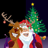 Santa and reindeer found the booze cupboard poster