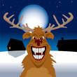 Evil reindeerunder full moon