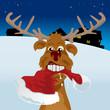 Reindeer chewing a santa hat