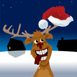 Reindeer wearing santa hat