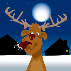 Rude reindeer sticking tongue out under the moonlight