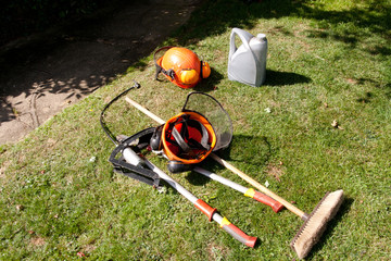 Safety helmet & garden tools
