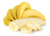 Fototapety Isolated bunch of banana fruits. Peeled cut bananas isolated on white background