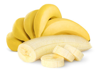 Ripe bananas isolated on shite