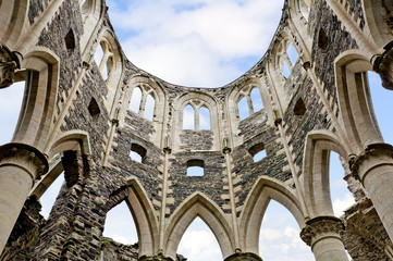 Historic ruins of the abbey of hambey in normandy france