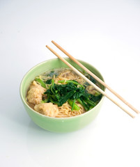 noodle soup in green bowl and chopstick