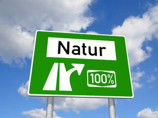Schild 100 Prozent Natur