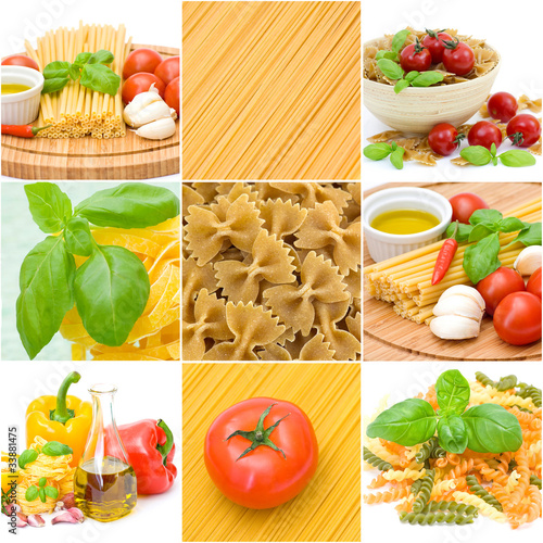 pasta collage made from nine photographs