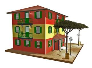 Casa Stile Riviera Ligure-Italian Ligurian-Style House-3D-2