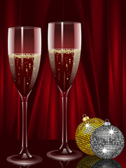 champagne and christmas baubles on a red background
