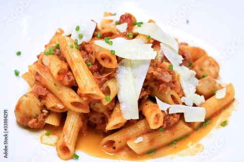 penne pasta with tomato sauce and cheese I
