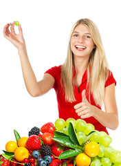 young smiling woman with fresh berries