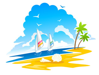 Tropical Coastline, Palms, birds, yachts at the background