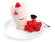 Raspberry yogurt with fresh raspberries