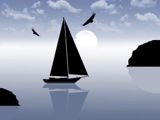 Sailing boat ride at sunset