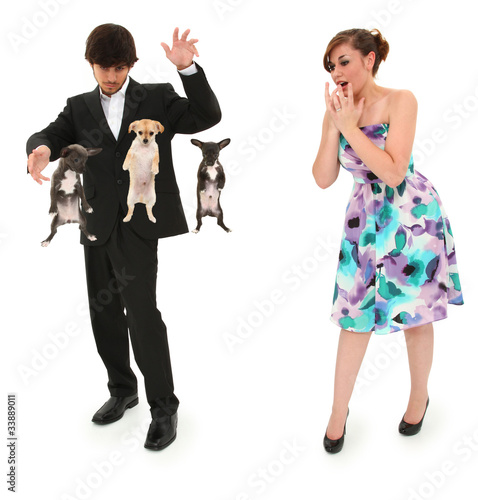 Teen Boy Magic Show with Floating Puppies