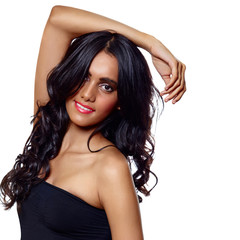 beauty woman with long balck curly hair