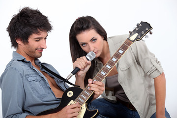Couple playing music