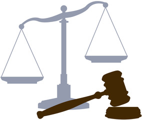 Scales Gavel legal justice court system symbols