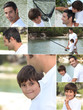 Collage of man fishing with little boy
